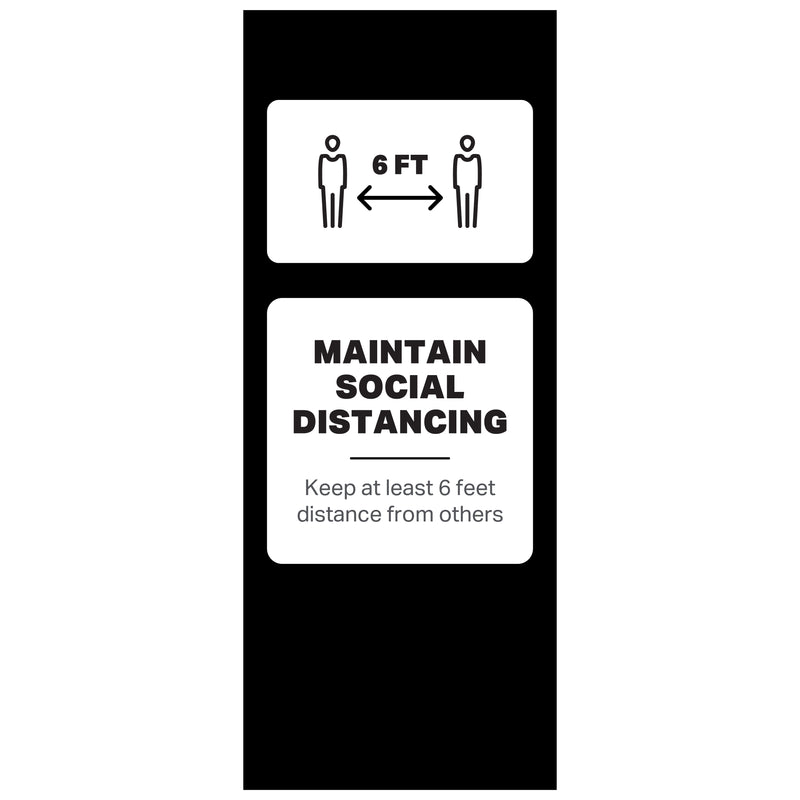 "Single-Sided Banner Stand - Maintain Social Distancing - (1) 33 ½"" x 84"" Banner and Hardware"