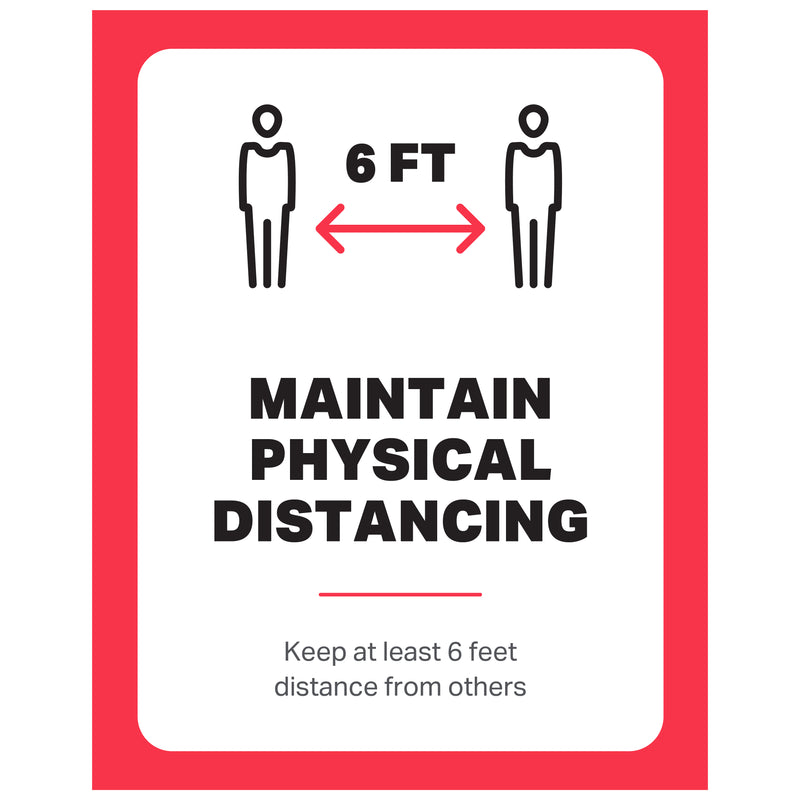 "Single-Sided Exterior Poster - Maintain Physical Distancing - (1) 11"" x 17"" Poster"