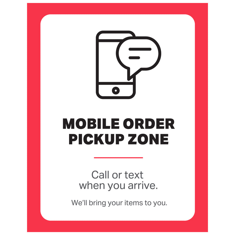 "Single-Sided Exterior Poster - Mobile Order Pickup Zone - (1) 30"" x 40"" Poster"