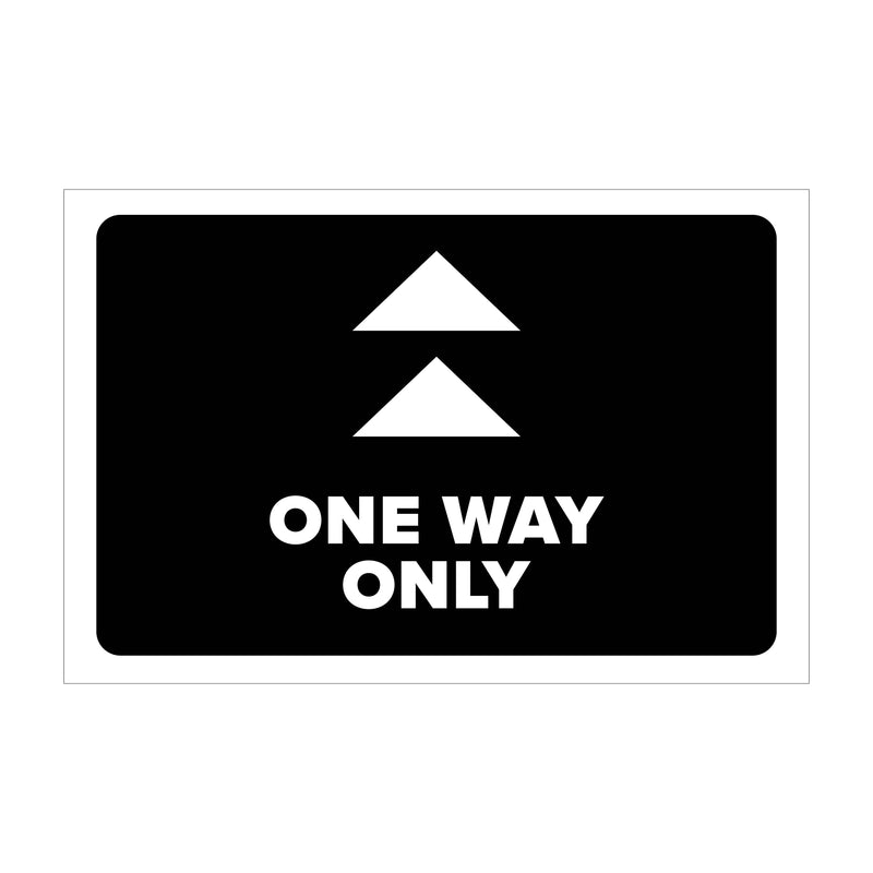 "Single-Sided Aisle Directional - Floor Graphic - (1) 12"" x 18"" 'One Way Only' Graphic and (6) 5"" x 5"" Directional Arrow Graphics"