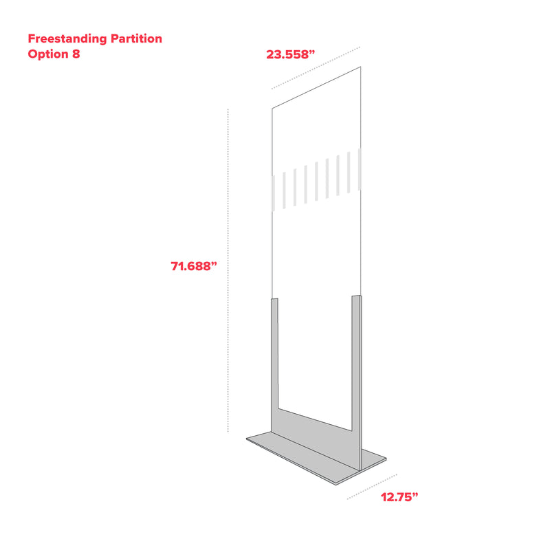 "Freestanding Full Body Partition - With Visibility Graphic - Option 8 - 23.558"" x 71.688"" x 12.75"""