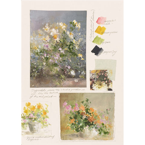 A page from artist Amanda Hoskin's personal sketchbook featuring flower studies.