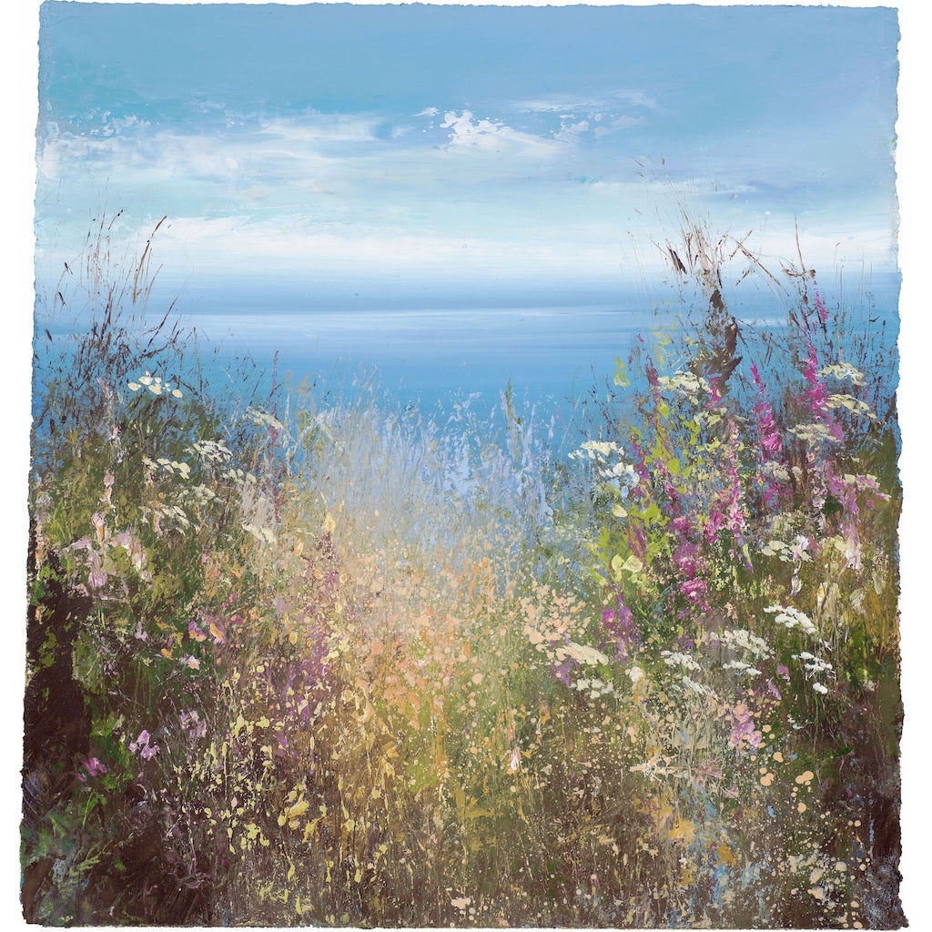 Limited edition print of flowers and the sea in the distance by artist Amanda Hoskin