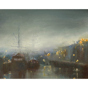 Limited edition print of the tall ships at Charlestown, Cornwall by artist Amanda Hoskin