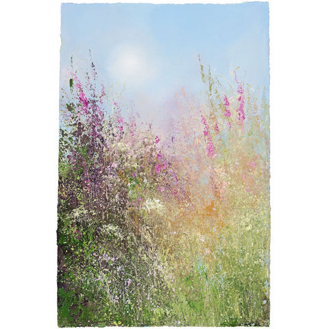 Limited edition print of foxgloves and cow parsley by artist Amanda Hoskin