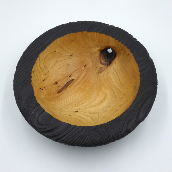 Carved and Scorched Elm Bowl
