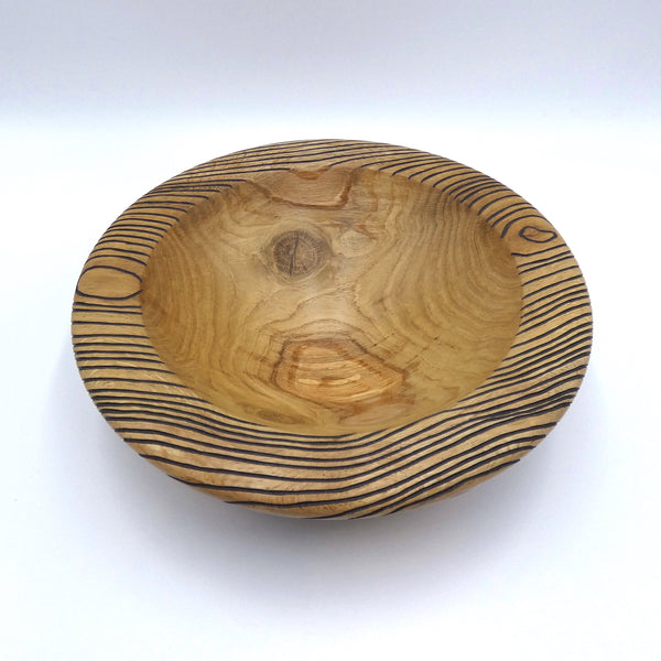 Carved and Painted Oak Bowl