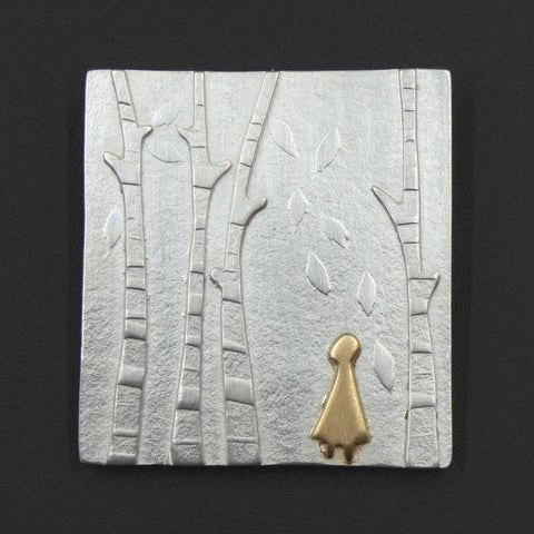 Silver and Gold Beneath Four Birch Brooch by Jeweller Becky Crow