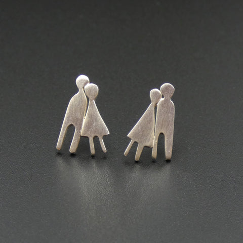 Silver Couple Stud Earrings by Jeweller Becky Crow