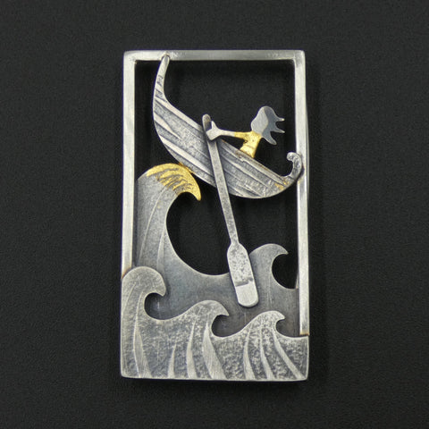 Silver Crest of a Wave Brooch by Jeweller Becky Crow