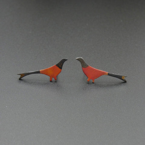 Copper Pheasant Stud Earrings by Jeweller Becky Crow