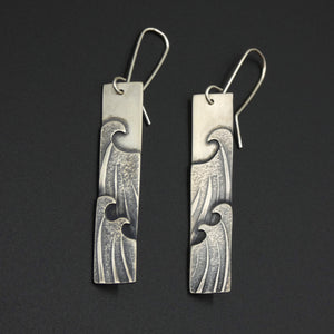 Silver Wave Earrings by Jeweller Becky Crow