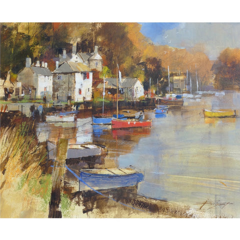 Painting of boats on the River Lerryn, Cornwall by artist Chris Forsey