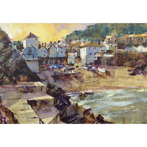 Painting of the late evening light at Portloe, Cornwall by artist Chris Forsey