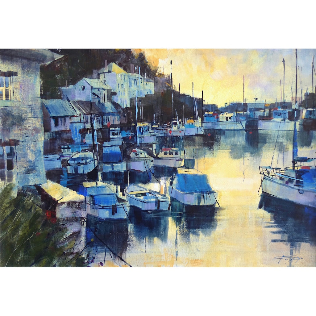 Painting of the sunrise at Polperro, Cornwall by artist Chris Forsey