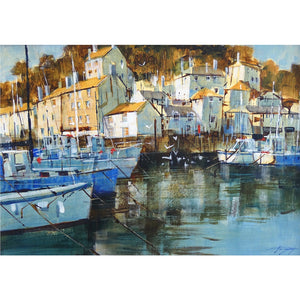 Painting of light hitting the buildings in Polperro Harbour, Cornwall by artist Chris Forsey