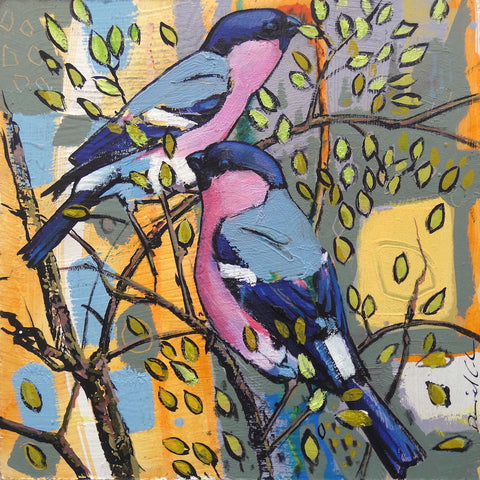 Painting of Bullfinches by artist Daniel Cole