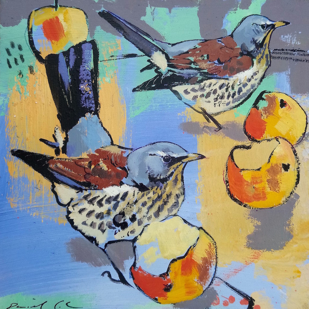 Open edition print of Fieldfares by artist Daniel Cole
