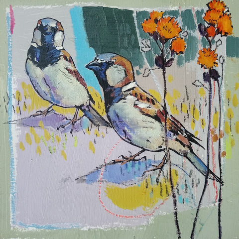 Open edition print of House Sparrows by artist Daniel Cole