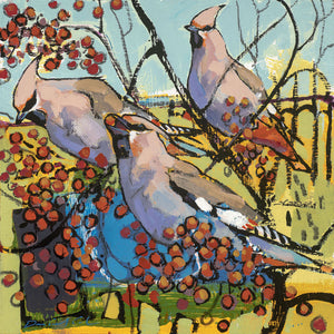 Open edition print of Waxwings by artist Daniel Cole
