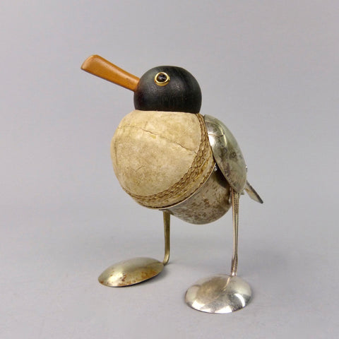 Black headed gull sculpture made from found objects by artist Dean Patman