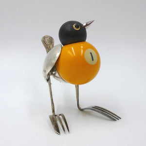 Great tit sculpture made from found objects by artist Dean Patman