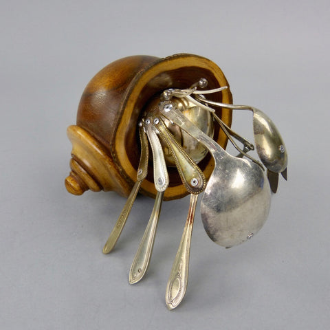Hermit Crab sculpture made from found objects by artist Dean Patman
