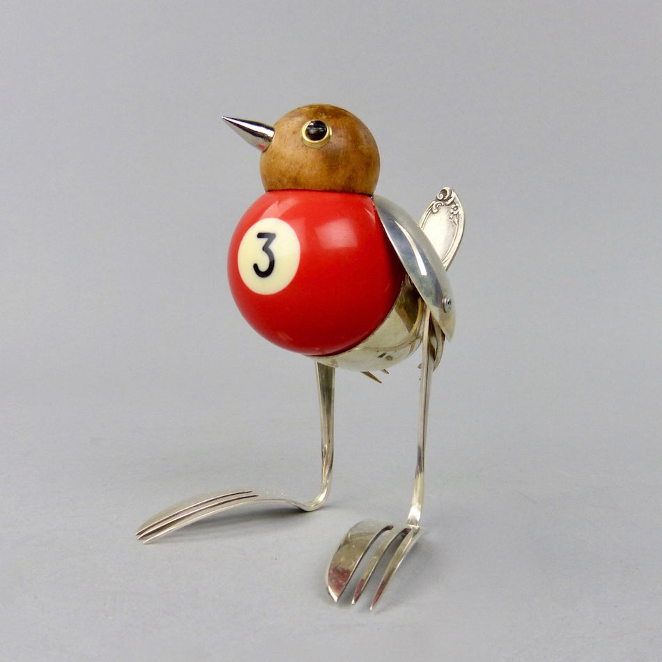 Robin sculpture made from found objects by artist Dean Patman