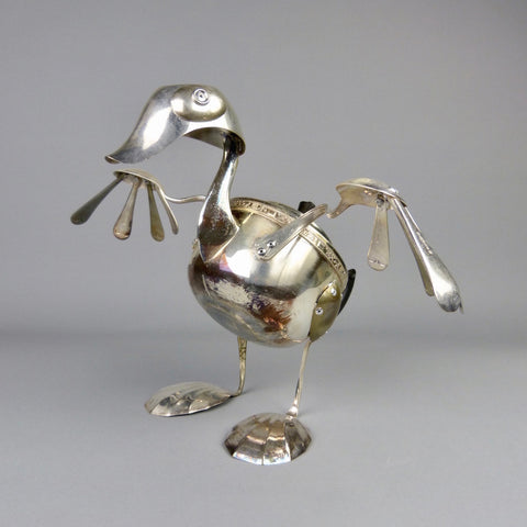 Duck sculpture made from found objects including a teapot by artist Dean Patman