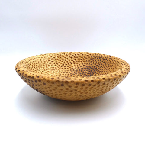 Dimpled ash bowl by woodturner Howard Moody