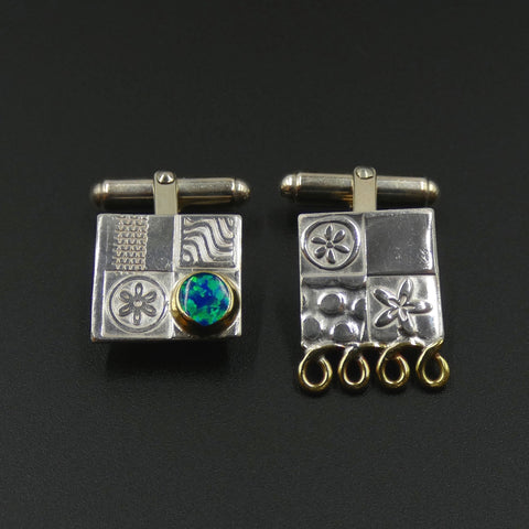 Asymmetric cufflinks by jewellers John and Dawn Field