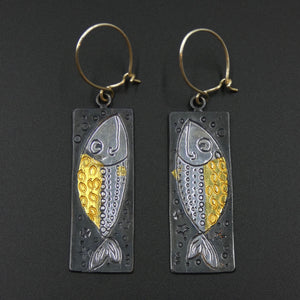 Fish earrings by jewellers John and Dawn Field