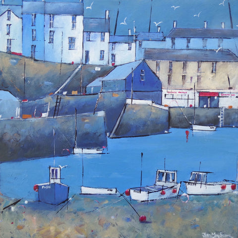Painting of Mevagissey harbour by artist Jean May Parsons