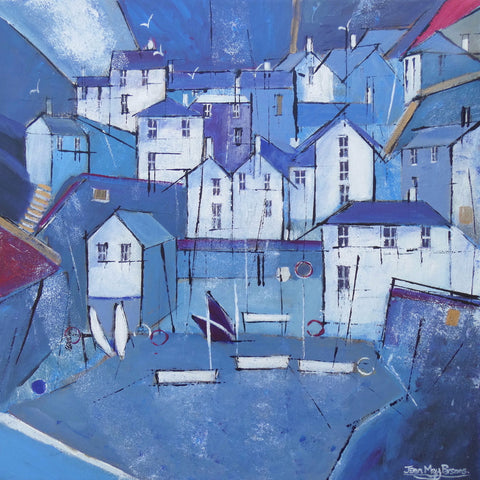 Painting of Portloe by artist Jean May Parsons