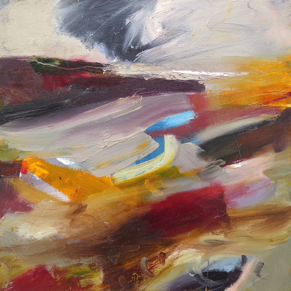 Semi abstract painting of the coast and sky by artist Lesley Birch