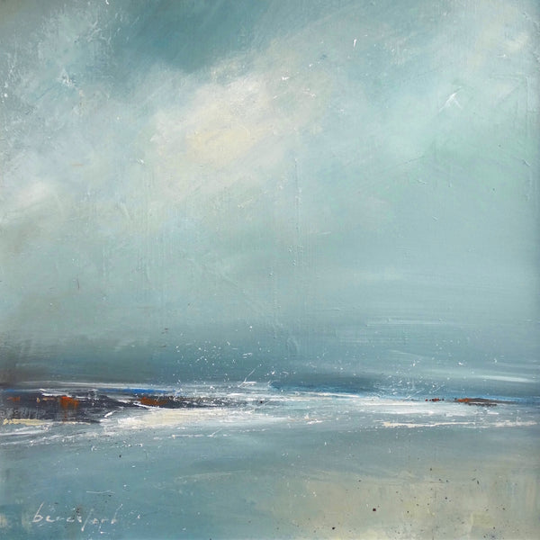Painting of the rocks, sea and sky by artist Mark Beresford.