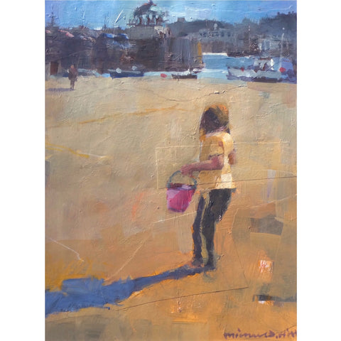 Painting of a child with a bucket and spade in St Ives, Cornwall by artist Michael Hill