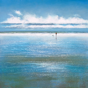 Limited edition print of a man walking his dog at low tide.