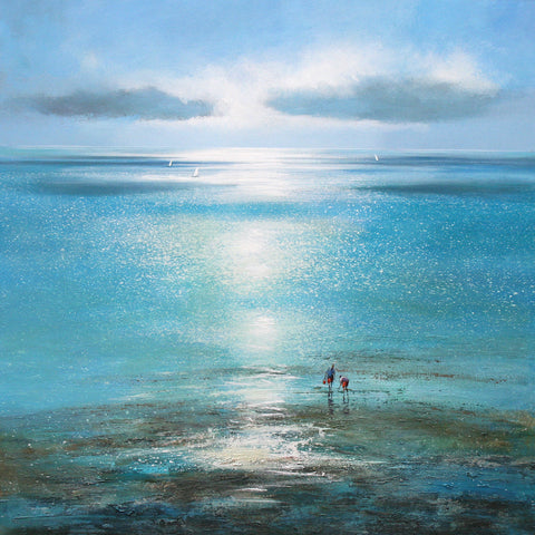 Limited edition print of two people walking on a sparkling beach with sail boats in the distance