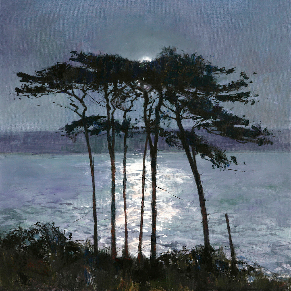 Limited edition print of pine trees on the banks of the Helford River, illuminated by the moon.