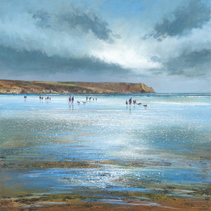 Limited edition print of people walking their dogs on Carne Beach, Cornwall