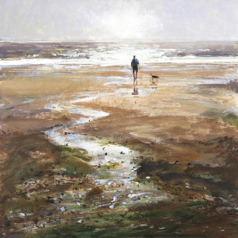 Limited edition print of a man walking his dog on a sparkling beach