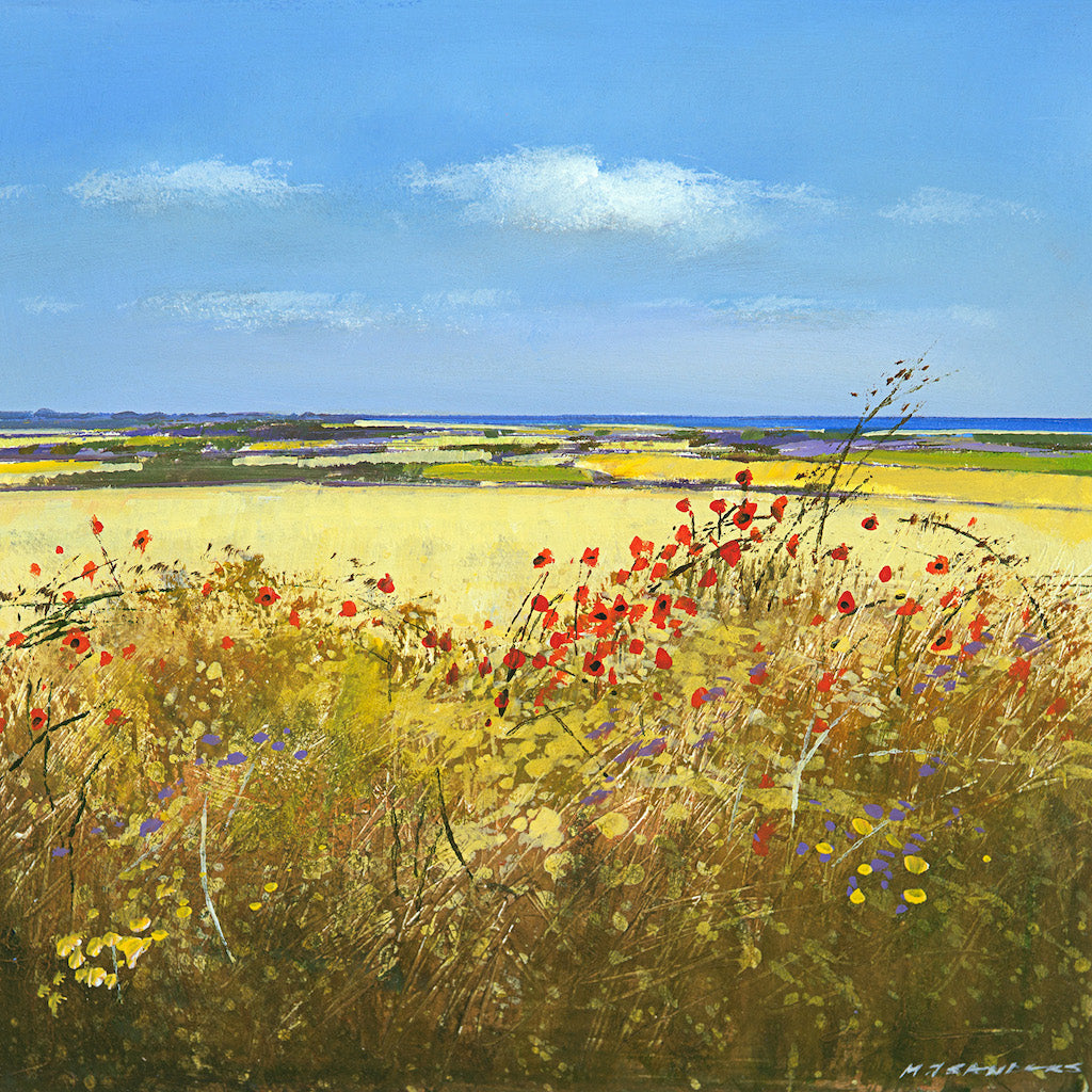 Limited edition print of hedgerow fields and the sea in the distance