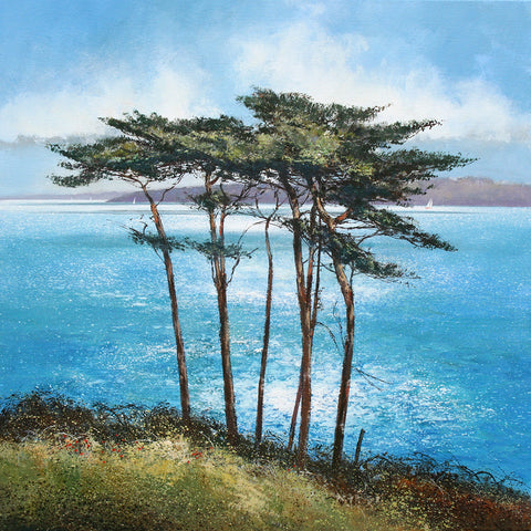 Limited edition print of pine trees on the banks of a river