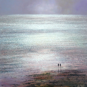 Limited edition print of a couple holding hands on a sparkling beach