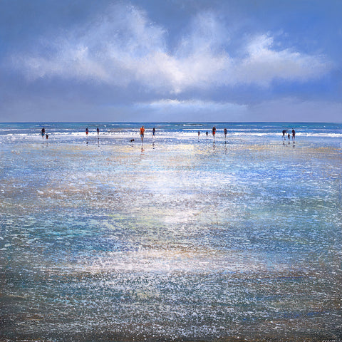 Limited edition print of people walking on a sparkling beach