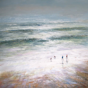 Limited edition print of a couple and two dogs walking on the beach on a stormy day.