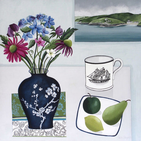 Still life painting with fruit, jug and flowers by artist Paula Sharples
