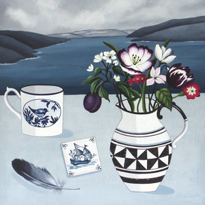 Still life painting with jug, delft tile and flowers by artist Paula Sharples