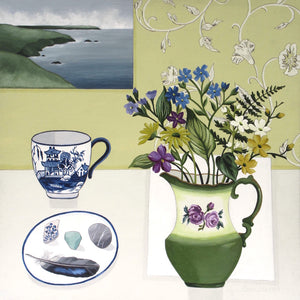 Still life painting with jug and flowers by artist Paula Sharples